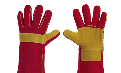 red yellow safety gloves