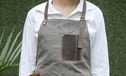 grey leather aprons